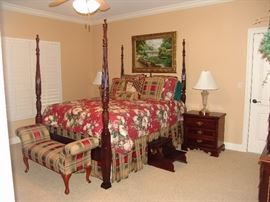 Mahogany rice bed with matching mahogany chest and highboy