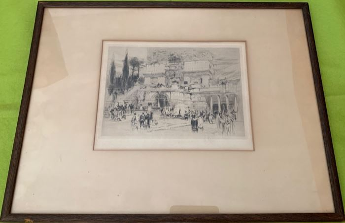 "Etching ""The Villa Quintilli"" by Wm. Wallot R E"