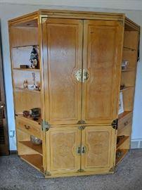 $75  3 piece blonde media cabinet