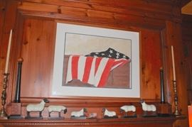 We have Sheep! Also, Candlesticks and Art - American Flag