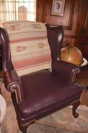 Nailhead Wing Chair and Southwestern Throw with Floor Globe