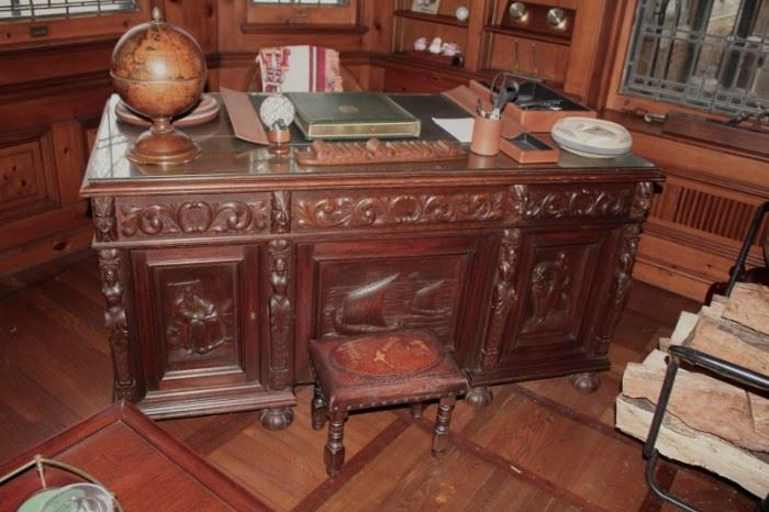 Beautiful Carved Desk in Library, Small Foot Stool, Desk Globe and so much more