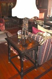 Carved Side Table and Lamp