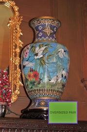 Pair of Oversized Colorful Urns