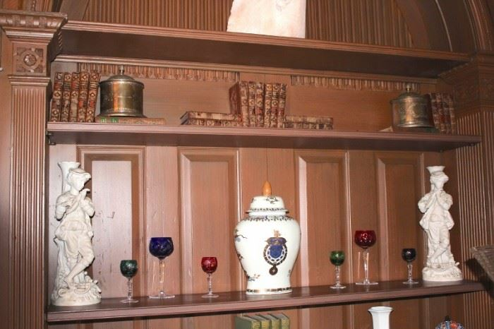 Statuary, Stemware, Metal Canisters and Books