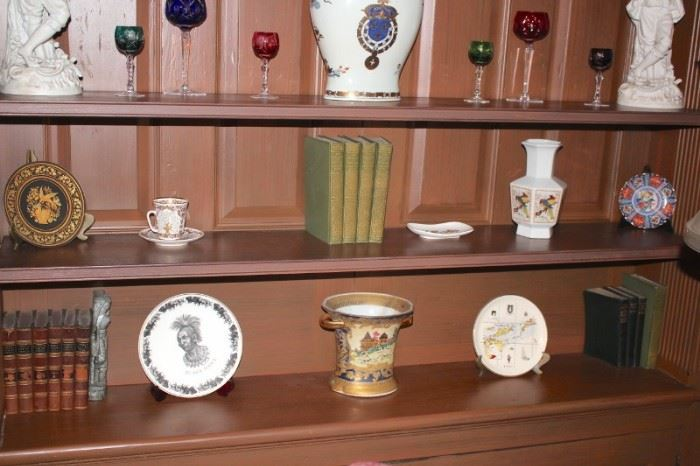 Statuary, Stemware, Decorative Plates, Urns and Books
