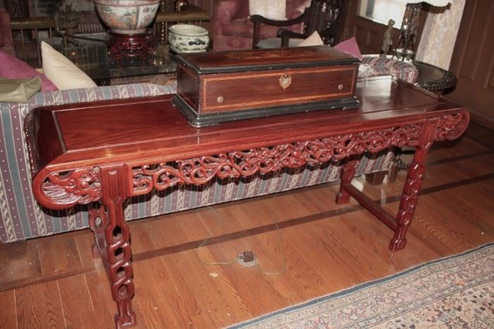 Carved Console Table, and Box