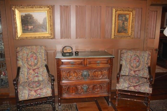 Vintage Furnishings, Art, Carved Marble Topped Cabinet