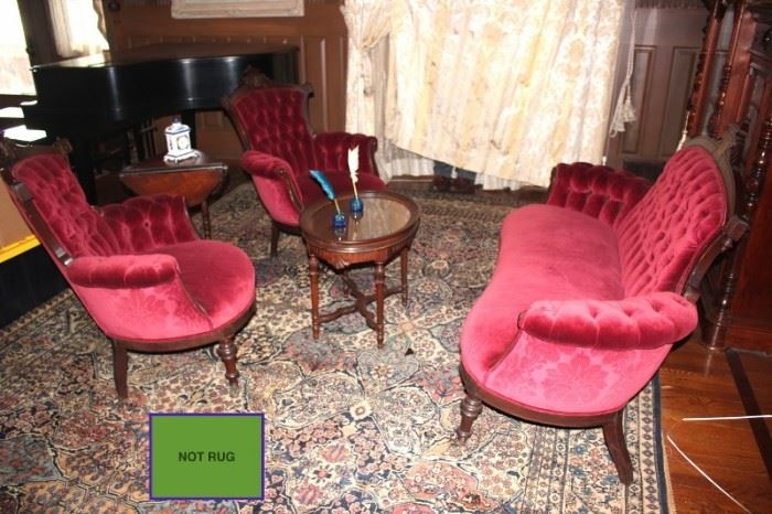 Antique Velvet Settee and Chairs with Assorted Side and Coffee Tables
