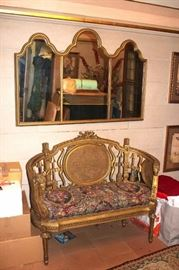Small Gold-tone Settee with Mirror