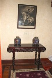 Carve Console Table with Pair of Jars/Pots and Print