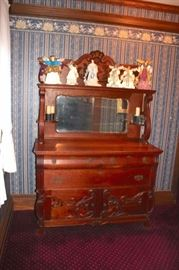 Antique Hutch with Staturary