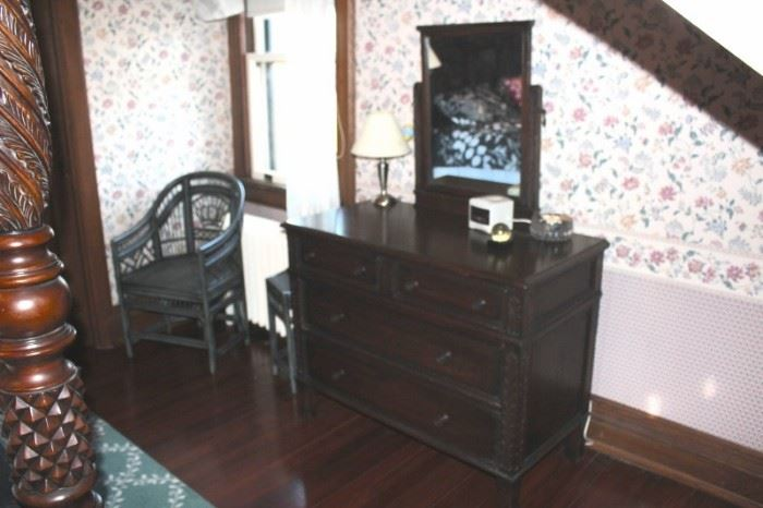 Dresser and Matching Mirror with  Wicker Side Chair