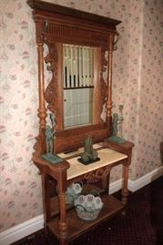Antique Hat Rack with Small Statuary and Decorative Bowl