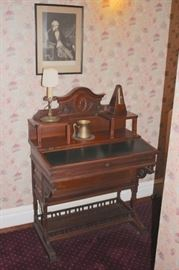 Antique Writing Desk with Lamp and Portrait Art