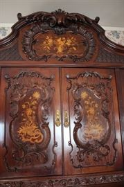 Stenciled, Carved Antique Armoire