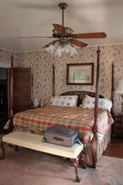 4 Poster Bed and Ceiling Fan with Bench and Art