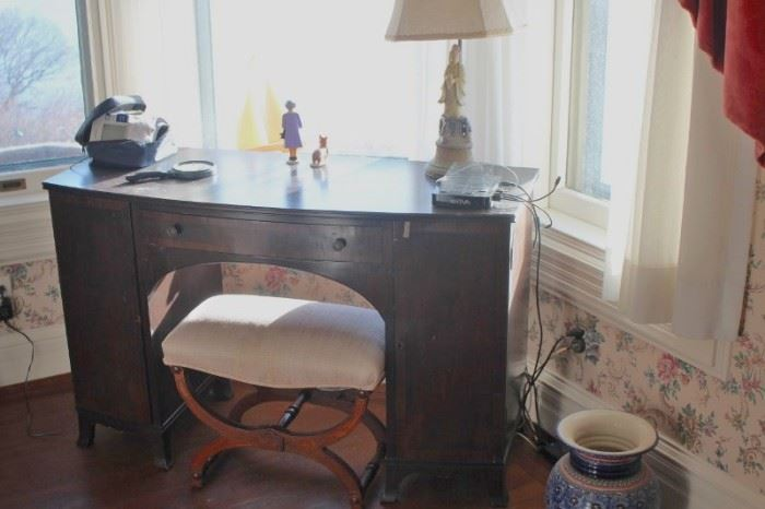 Desk and Bench with Lamp