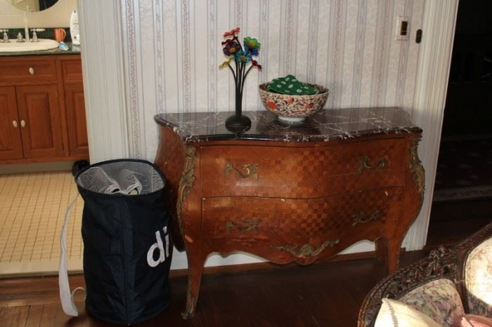 Marble Topped Cabinet with Bowl and other Decorative