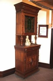 Beautiful Stained Glass Smaller Storage/China Closet and Credenza