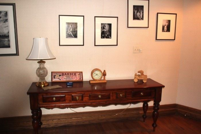 Console Table, Clock, Lamp, Photos and more