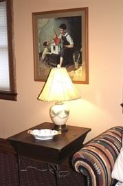 Lamp, Side Table and Art