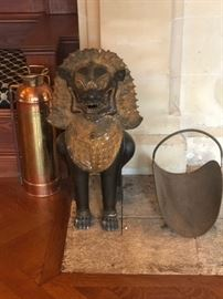 Asian Statuary, Wood Storage and Brass Toned Fire Extinguisher