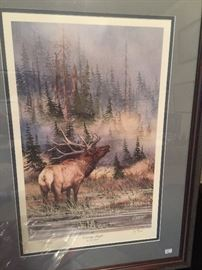 Elk print, signed and numbered.
