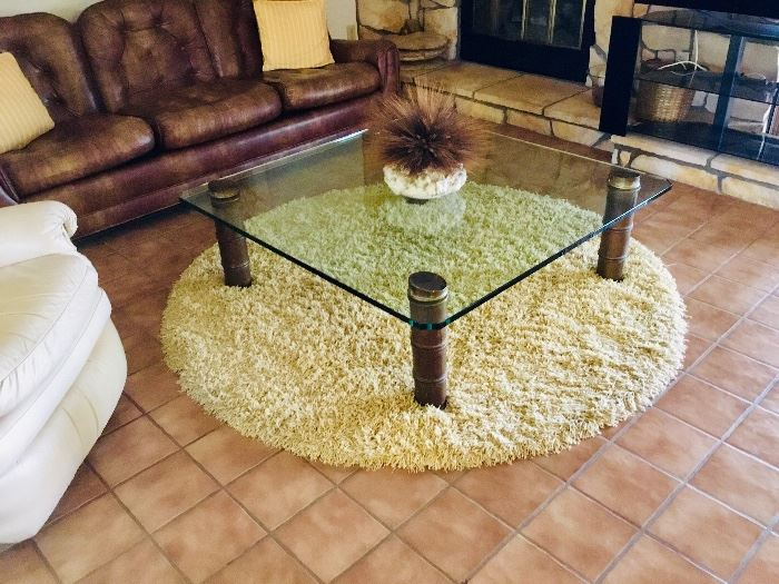"""Awesome  vintagevglass top table.  Glass is almost 1"""" thick."""