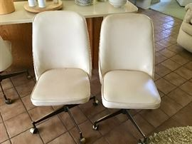 6 vintage rolling chairs/ low bar stools
