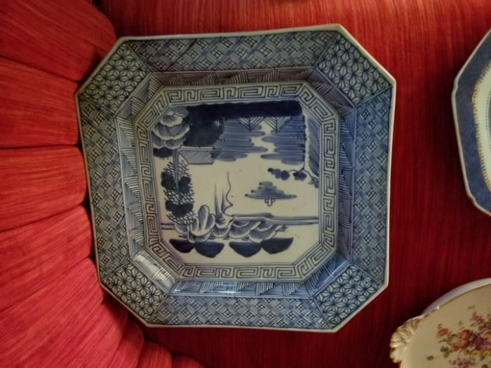antique Chinese plate with hand painting, blue and white