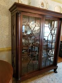 large antique china cabinet with claw feet, matches sideboard
