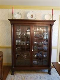 antique clawfoot china display cabinet in dining room, matches the sideboard