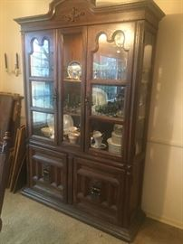 Vintage lighted china hutch