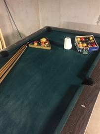 Vintage Fisher pool table with sticks, balls, chalk