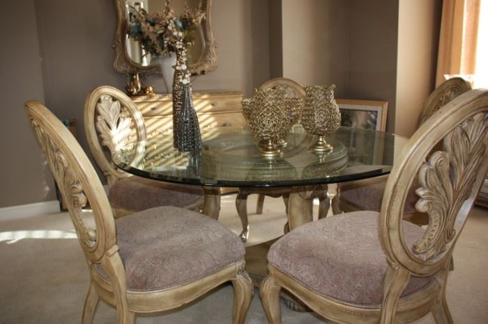 Schnadig glass topped pedestal dining table