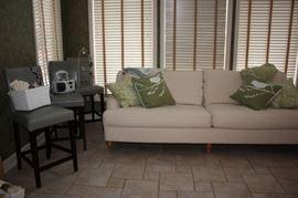3 bar stools, darling white sofa