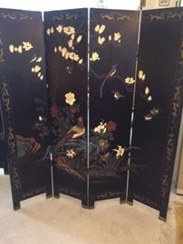 Four panel hand painted Asian screen