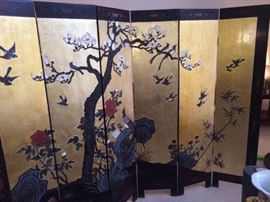 Six panel hand painted Asian screen - about 6 ft tall