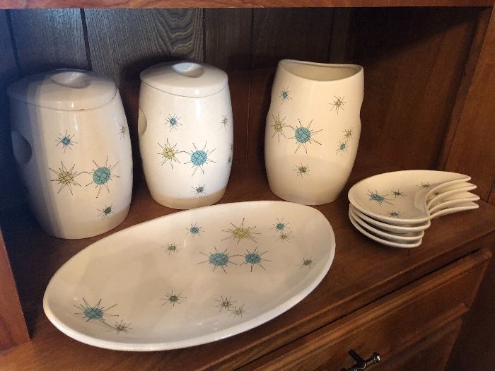 Mid century Franciscan Pottery Atomic Starburst canister set and platter.