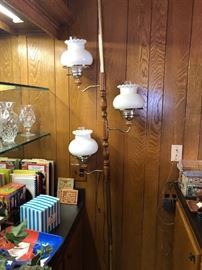 Vintage pole light with milk glass shades