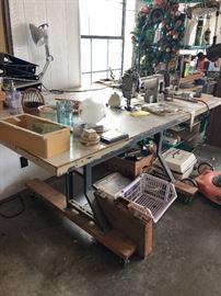Vintage industrial sewing machine table