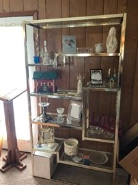 Vintage 1970's etagere with chrome finish frame and glass shelves