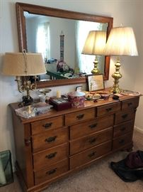 Vintage maple dresser in the American Colonial style