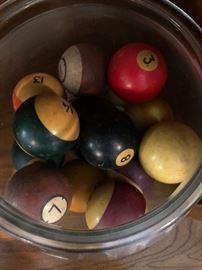 Vintage pool table billiard balls.