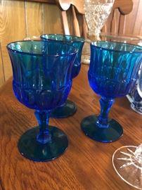 Vintage blue glass goblets