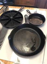Cast iron skillets and corn bread skillet