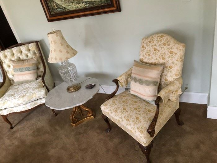 high back chairs marble table