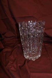 Etched Glass Flower Vase