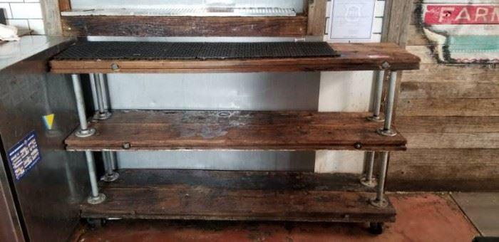 3 Tier Wooden Industrial Stand